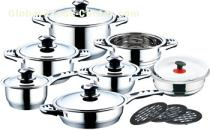 17 pcs s/s lids stainless steel cookware set with thermometer
