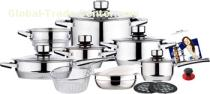 19 pcs straight shape stainless steel cookware set with strong revit handle