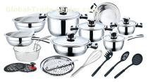 27pcs inside and outside mirror polished stainless steel cookware set