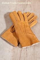 Warm Winter Cashmere Sheepskin Double Face Leather Gloves For Men