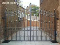 simple yard iron gates courtyard swing driveway gate Yishu metal factory