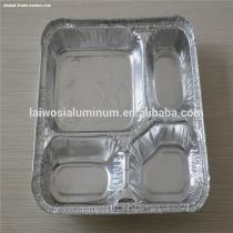 sectional aluminum foil fast food container for food packaging use, compartment takeaway aluminium foil container with lid