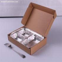 disposable 3 compartment food container aluminium lunch box