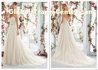 A Line Wedding Dresses Sexy Spaghetti Straps Backless Summer Beach Bridal Gown