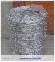 1.8mm 15kg hot dip galvanized double twist barbed wire used in wire fencing on the top
