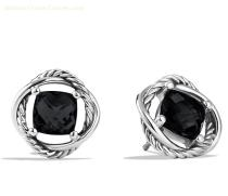 David Yurman 925 Silver Jewelry 7mm Infinity Earrings With Black Onxy