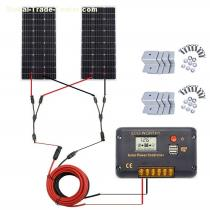 ECO-WORTHY 200 Watt (2pcs 100 Watt) Monocrystalline Solar Panel Complete Off-Grid RV Boat Kit with LCD Charge Controller + Solar Cable + Mou