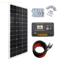 ECO-WORTHY 100 Watt Monocrystalline Solar Panel 12V Off-Grid RV Boat Kit:100 Watt Solar Panel with 20A LCD Display Charge Controller Chargin