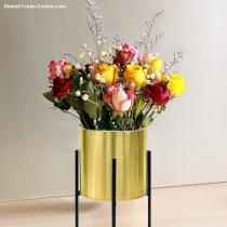 metal flower stand with flower pot