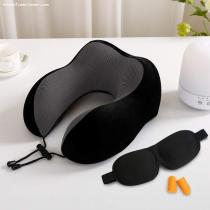 Popular Black Washable Customized Neck Rest High Support Memory Foam Travel Neck Pillow