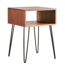 Modern Natural Brown Single Open Drawer Bed Side Table with Black Hairpin Leg
