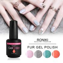 RONIKI Fur Effect Gel Polish,Nail Matte Gel Polish,Nail Painting Color Gel,Frosted Surface Gel Polish