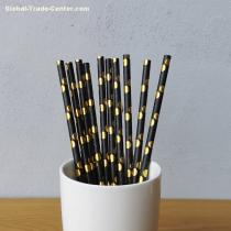 Gold Big Polka Dot Drinking Paper Straws