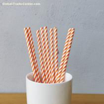 Orange And White Small Striped Drinking Paper Straws