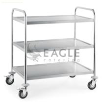 Stainless Steel Round Tube Three Tiers Restaurant Serving Trolley Collect Carts