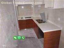 White Polished Marble Kitchen Countertop Cabinet