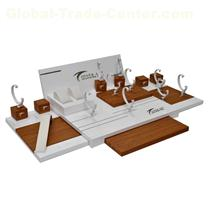 Fashion customized white/brown wooden watch counter display showcase