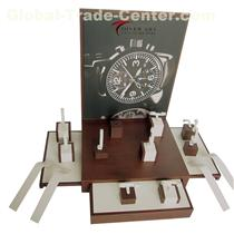Custom made luxury dark brown wooden watch strap display stand for watch counter display showcase