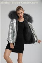 Shiny Color Parka Short Style Grey Fur Lined Overcoat With Big Grey Furry Collar Winter Women Ladies Coat