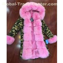 Thick Warm Luxurious Coat 2020 Women Parka Fox Fur Cuffs For Ladies Pink Lining Out Coat