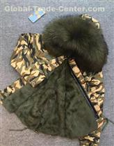 Winter Camouflage Shell Short Coat Army Green Rabbit Fur Lined  Men Jacket With Military Style