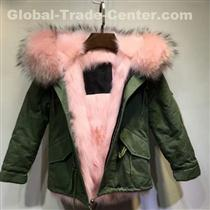 Nice Elegant Girl Army Green Waterproof Shell Pink Faux Fur Lining Real Raccoon Fur Collar Bomber Jacket
