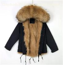 Best Sales Coat With Khaki Real Fox Fur Lining Parka Black Short Fur Jacket For Mens