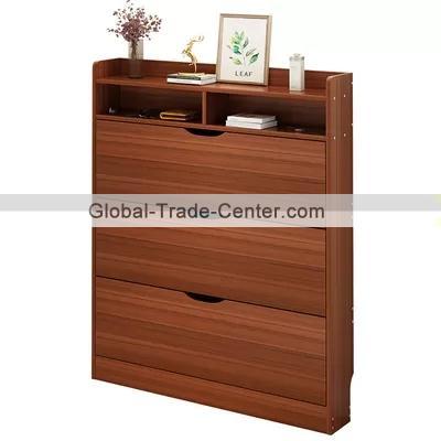 Brown 2 Tier Shoe Storage Cabinet, Front Door Storage Furniture